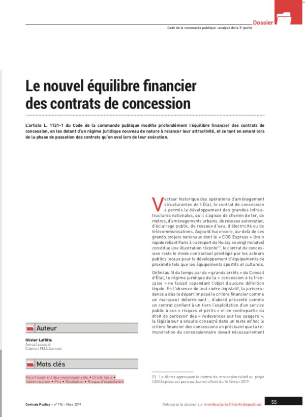 Le nouvel équilibre financier des contrats de concession